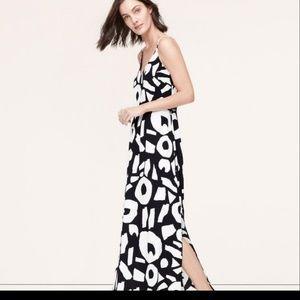 Loft Black and White print maxi dress